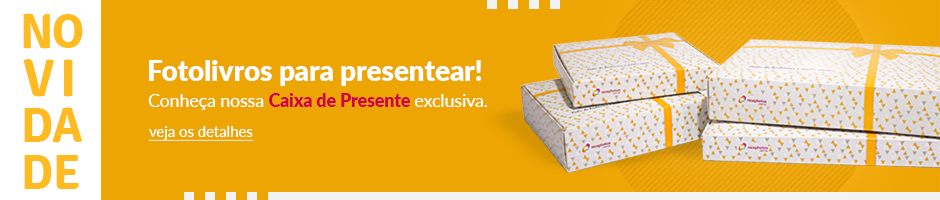 Banner com fundo Laranja mostrando Novidade de caixas de presentes - Nicephotos