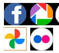 Conjunto de ícones, facebook, google fotos