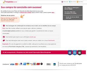 Captura de Tela com a confirmação da Compra - Nicephotos