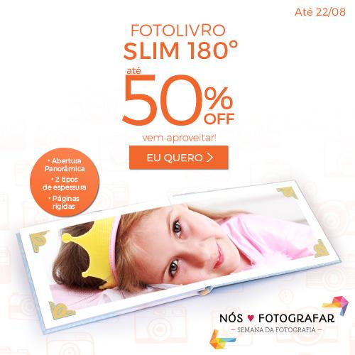 Fotolivros Slim 180º com 50% OFF